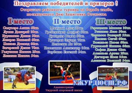 Открытый районный турнир по борьбе самбо